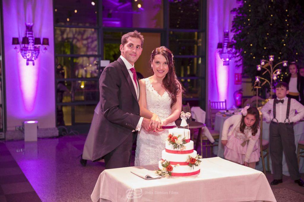 novios cortando la tarta de boda
